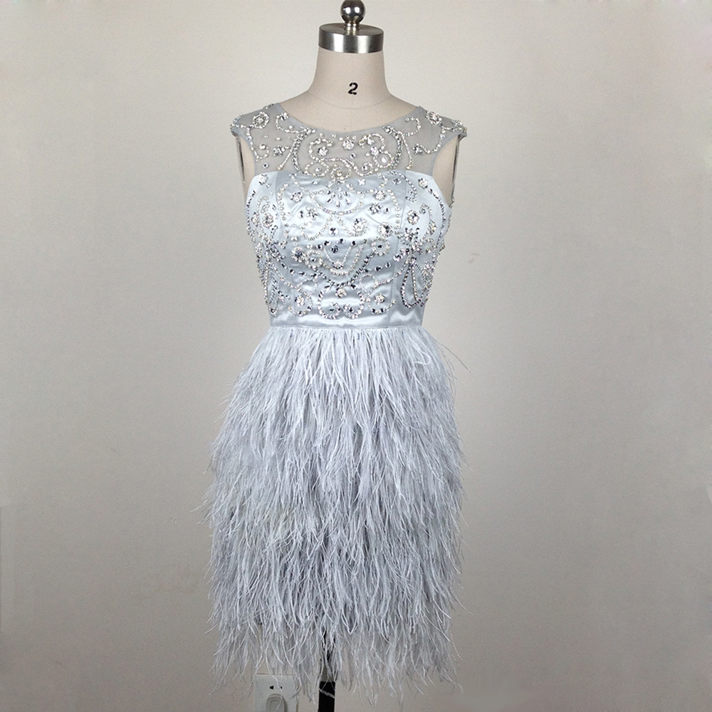 Luxury gray short feather cocktail dress scoop neckline crystal ...