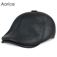 HL7113 Real Leather Baseball Cap Hat Winter Warm Russian Old Men Beret Newsboy Ear Flap Caps