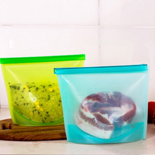 Reusable Silicone Food Preservation Bag  Seal Fruit Meat Storage Container Ziplock Versatile Kitchen