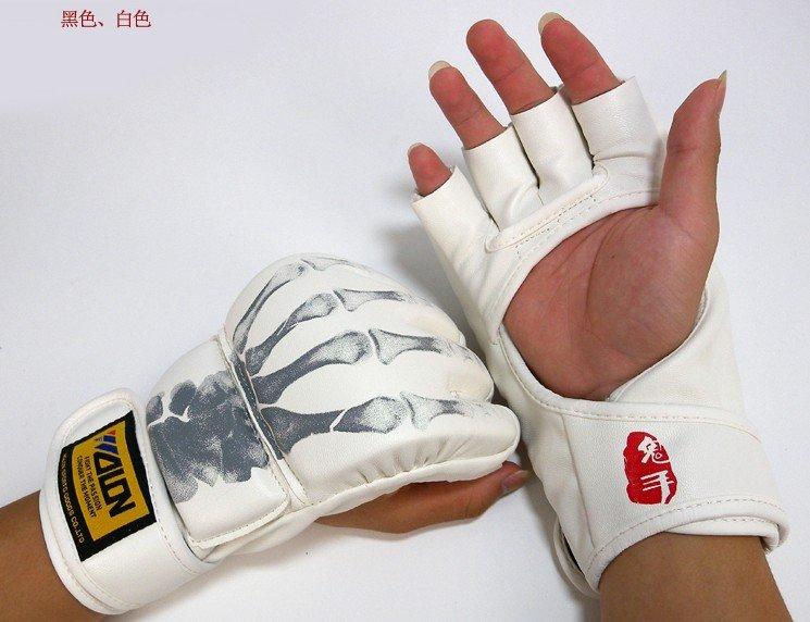PU Skull Sanshou boks təhsili yarım barmaq qum yastığı əlcəyi Mma Thai boks MMA pulsuz göndərmə