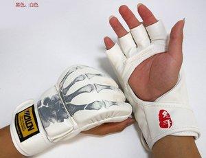 PU Skull Sanshou fighting boxing training half finger sandbag gloves mma Thai boxing MMA free shipping