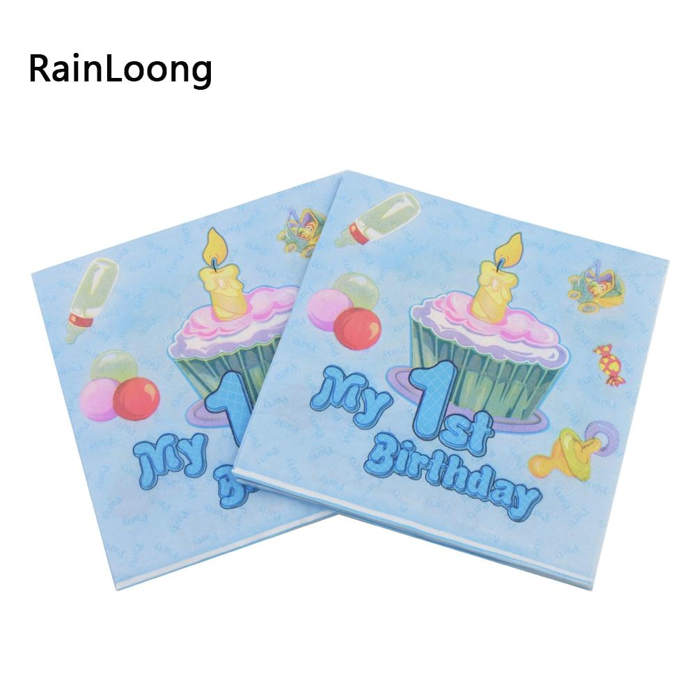 [RainLoong] Modri prtiček za prvi rojstni dan za dečke Praznični & Para Festas Tkiva 33cm * 33cm 5 paketov (20 kosov / paket)