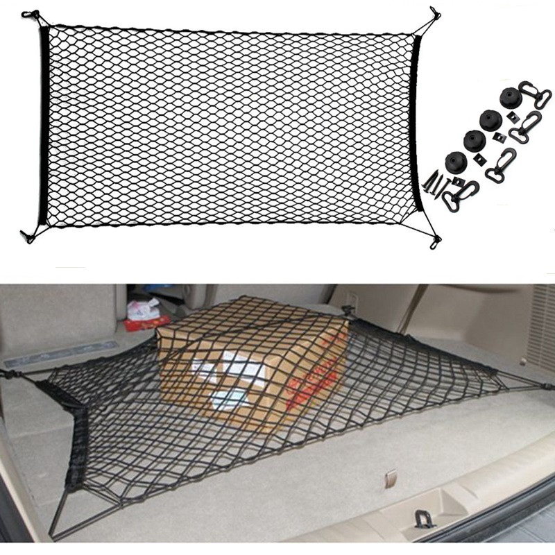 Car Trunk Nets 120 x 70 cm Elastic Strong Nylon Cargo Luggage Storage Organizer Net Mesh With Hooks For Car Van Pickup SUV MPV-in Nets from Automobiles & Motorcycles