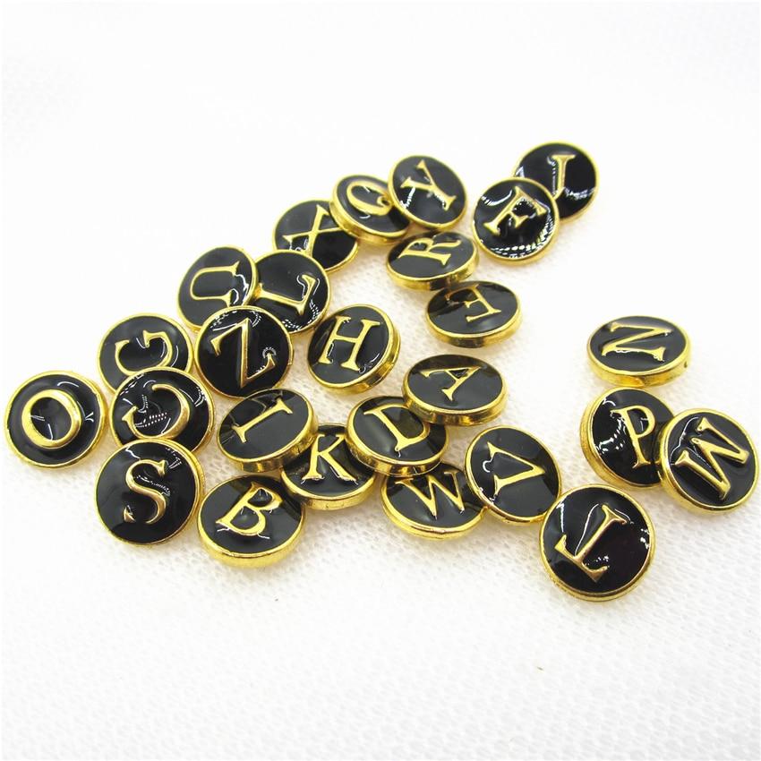 Купить 26 шт/лот золотые черные буквы зеркальный алфавит кнопки подходят