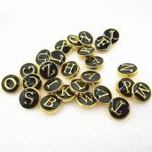 26 шт/лот золотые черные буквы зеркальный алфавит кнопки подходят