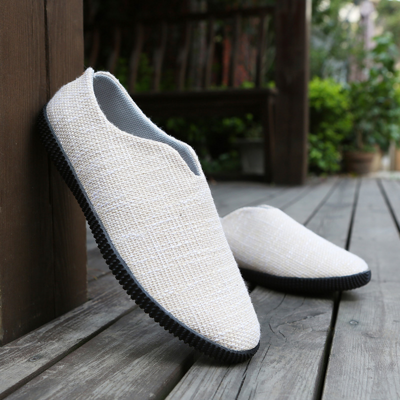 YEINSHAARS Men Breathable Casual Shoes Hemp Espadrille Fisherman Linen Loafers Lazy Driving Flats Men Canvas Shoes