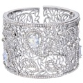 BELLA 2016 New Silver Plated Hollow Leaf Flowers Wedding Bracelets & Bangles Clear Austrian Crystal Cuff Bracelet Women Jewelry