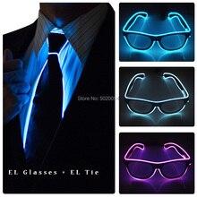 Dance Show Costume Props EL Wire Glowing Glasses Sunglasses Neon Luminous Led Men Ties Light Up Eyewear Necktie Kit