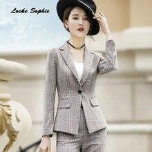 1pcs Womens Plus size Blazers coats 2019 Autumn cotton Single buckle plaid Small Suits jackets ladies Skinny
