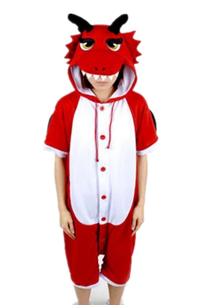 Animal Onesie Cosplay Costume Unisex Adult Red Dragon Pajamas Jumpsuit Short Sleeves Summer