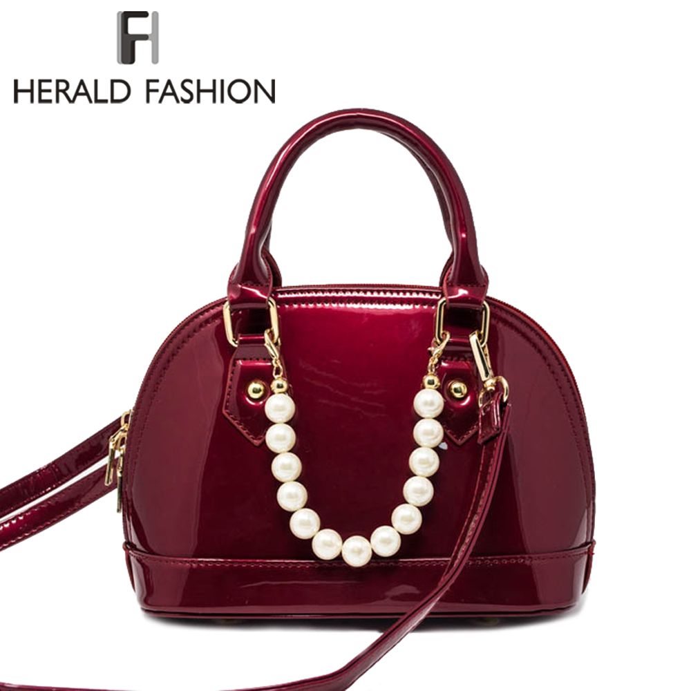 Herald Fashion Women Patent Leather Handbag Female Top-Handle Bags With Pearl Luxury Shoulder Bag Lady's Quality Messenger Bag retro leather women messenger bags small female shoulder bags luxury top handle bag leisure mini leather bolsos flap stb002