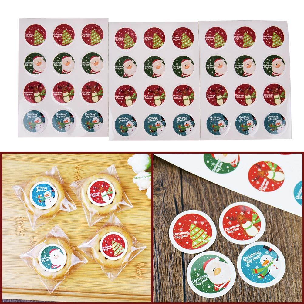3 Sheet sticker Christmas Gift Sticker Motif On Badge Santa Claus Christmas Tree Elk Xmas,Label,Seal Sticker