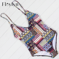 Floylyn Vintage Print Swimwear Women One Piece Swimsuit Beach Bathing Suit Backless Bodysuit Swimwear Monokini Maillot