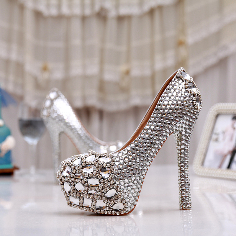 Lady Platforms Silver Glitter Rhienstone Thin Heel Formal Dress ...