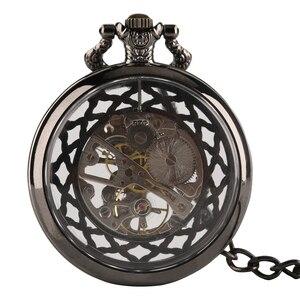 Image 2 - Cuerda a mano Reloj de bolsillo mecánico Steampunk reloj de nuevo diseño de la marca de lujo de moda hueco relojes para hombre mujer montre femme