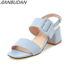 JIANBUDAN High quality sweet lady summer sandals High-heel casual women's sandals Non-slip comfort pink sandals Size plus 34-43