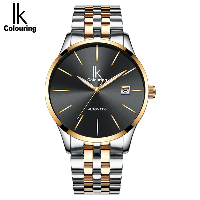 IK colouring Fashion Automatic Mechanical Men Watch Auto Date Full Stainless Steel Self-Wind Man Wristwatch Montre Homme 4574