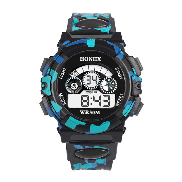 HONHX Children Outdoor Multifunction Sport Watches Silicone Band Date Time kid C