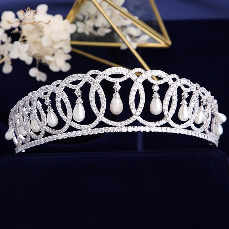 Princess Diana Wedding Tiaras Crystals Zircon Baroque Bridal Crowns Tocado Novia Bride Hair Jewelry Wedding Hair