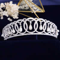Principessa Diana Diademi di Cerimonia Nuziale Cristalli di Zircone Barocco Corone Tocado Novia Sposa di Cerimonia Nuziale Dei Monili Dei Capelli Da Sposa Accessori Per Capelli