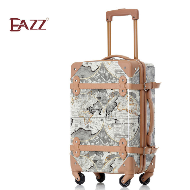 18inches vintage world map travel luggage bags on wheelkorea 18inches vintage world map travel luggage bags on wheelkorea fashion style female travel luggage gumiabroncs Image collections
