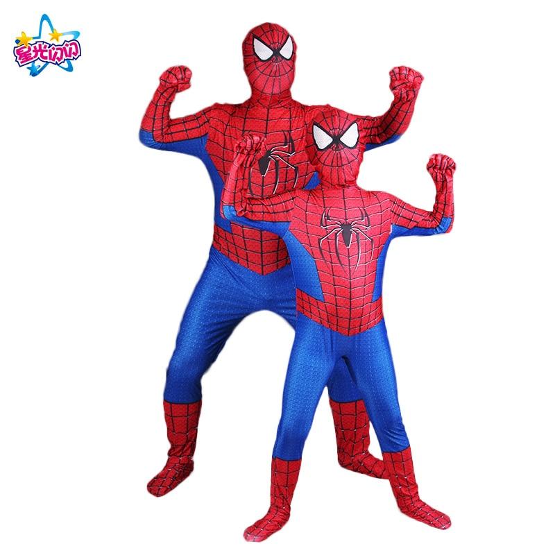 Childs Red spiderman costume Spider-Man Kids/Adult Halloween Superhero Lycra Spiderman Hero Zentai Costume Christmas gift boys