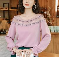Spring Autumn Long Sleeve Lace Women's Tunic chic Chiffon Slim was thin White/Black/Pink Fashion Shirt Sexy Lady Tops