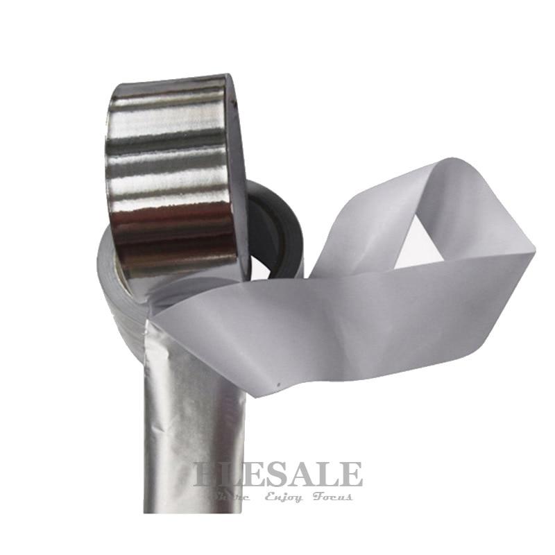 1 Roll Waterproof Self-Adhesive Aluminum Foil Tape Heat Insulation Flame Resistant Warning Tape For Tube Leak Repairing multi color 1 roll 20m marking tape 100mm adhesive tape warning marker pvc tape