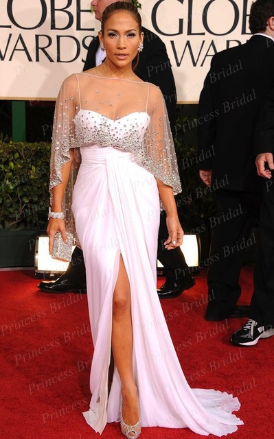 a21cfec6150e Sexy Sweetheart Spaghetti Strap Beaded Jennifer Lopez White Dress at 2011  Golden Globe Awards Red Carpet