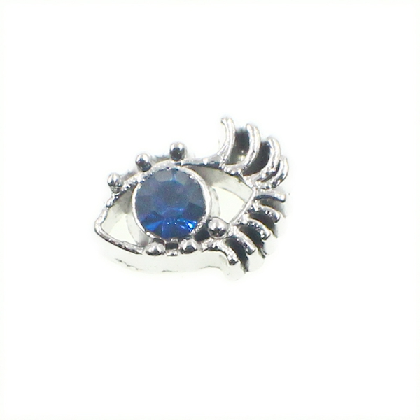 100PCS Cute Blue Rhinestone Eye Alloy Floating Charms Fit Glass Locket Charms DIY Jewelry Accessories