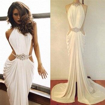 Saudi Arabia Mermaid High Neck Long Prom Gown Rhinestone Beaded White Ruffles Sexy Women Evening Gowns
