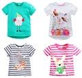 Brand 2016 New Girls Summer T-shirt Short Sleeve European Little Girl Cartoon Tees Baby Tshirt Children Shirts Cotton blousetop
