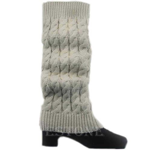 Las mujeres de invierno de punto de ganchillo caliente rodilla alta Calcetines calentadores de la pierna