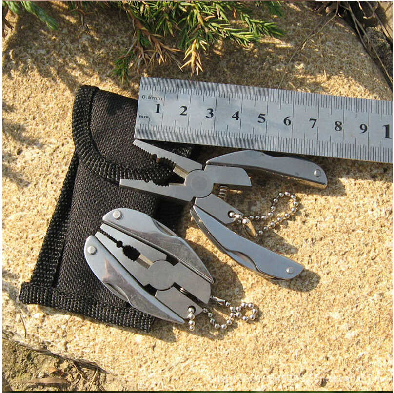 XIAOJINGLING breloczek przenośny Camping odkryty Mini metalowe breloczki składany wielofunkcyjny kieszonkowe szczypce noże narzędzia brelok