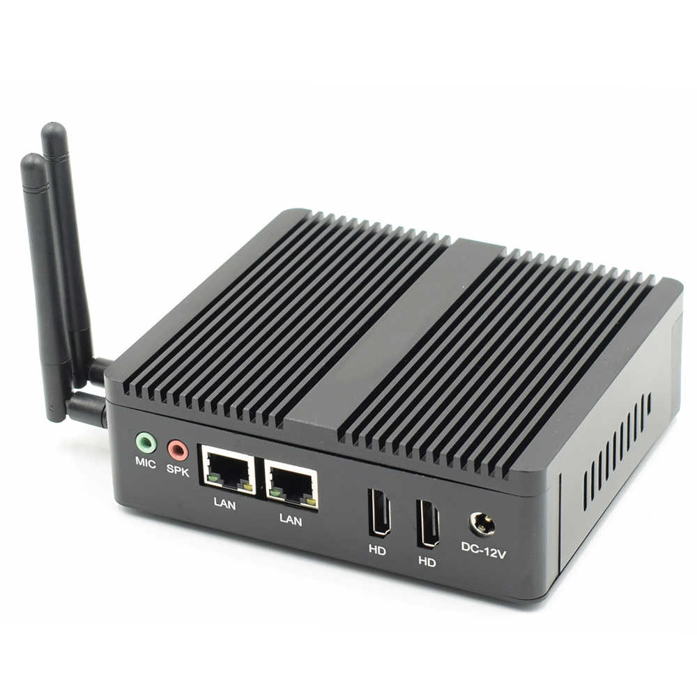 Topton Industrial Mini PC Windows 10 Pfsense AES-NI Intel N3160/J3160 sin ventilador Barebone Mini computadora 2 * Lan 2 * caja de TV HDMI VESA