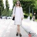 Nuevas mujeres europeas de primavera negro blanco sólido dress o-cuello completo manga de Longitud de La Rodilla Casual Mediados de Lágrima Diseño Mujer Vestido Estilo 2209