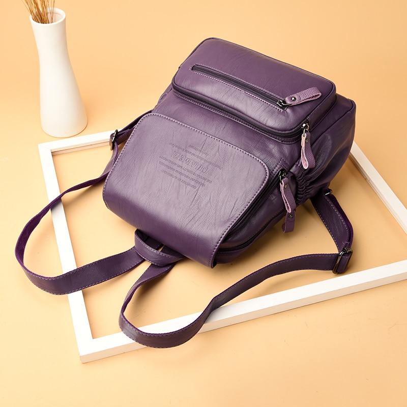 HTB1XCCrrbuWBuNjSszgq6z8jVXaL 2019 Vintage Leather Backpacks Female Travel Shoulder Bag Mochilas Women Backpack Large Capacity Rucksacks For Girls Dayback New