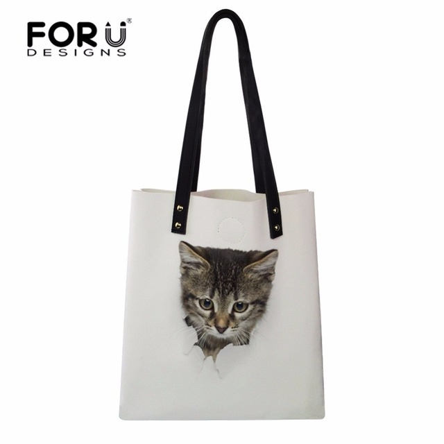 9198aa01d9 FORUDESIGNS Girl Shopping Bag Tote Cat Printed Eco Bag PU Leather Women  Reusable Handbags Portable Daily Bag with Small Wallets