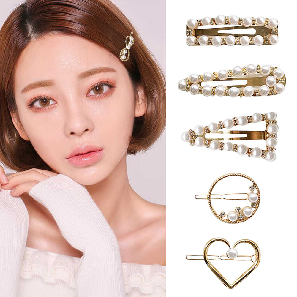 Wholesale 1Pcs Fashion Girl Temperament Wild Pearl Hairpin Word Clip Combination Network Red Temperament Bangs Cute Hair Clips