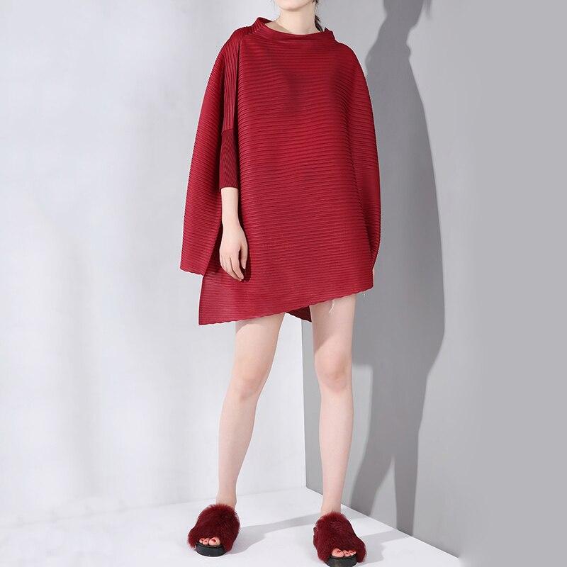 LANMREM 2019 nouveau printemps été col haut trois-quarts manches chauve-souris plissée grande taille chemise femmes Blouse mode marée YH31