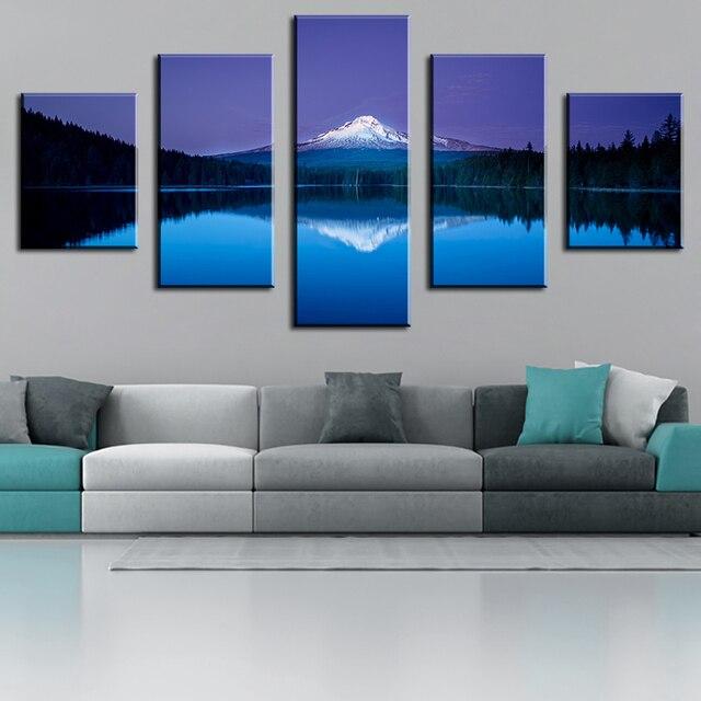 Contemporary 7 Piece Wall Décor Set : Aliexpress buy piece mountain lake reflection