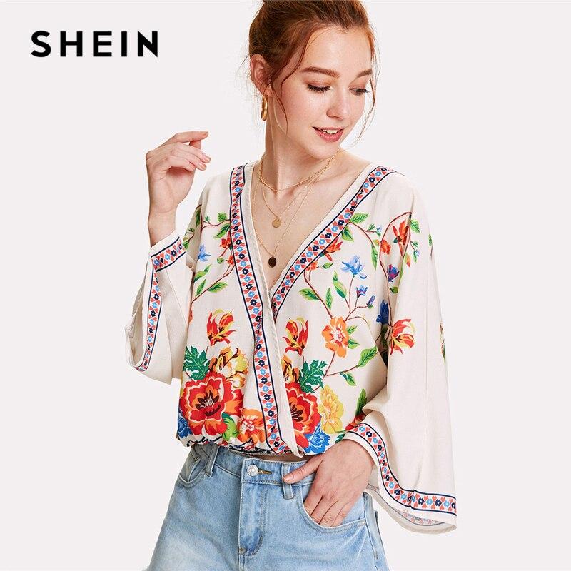 SHEIN Surplice Neckline Florals Top 2018 verano cuello pico manga larga estampado blusa mujer Patchwork Floral playa blusa
