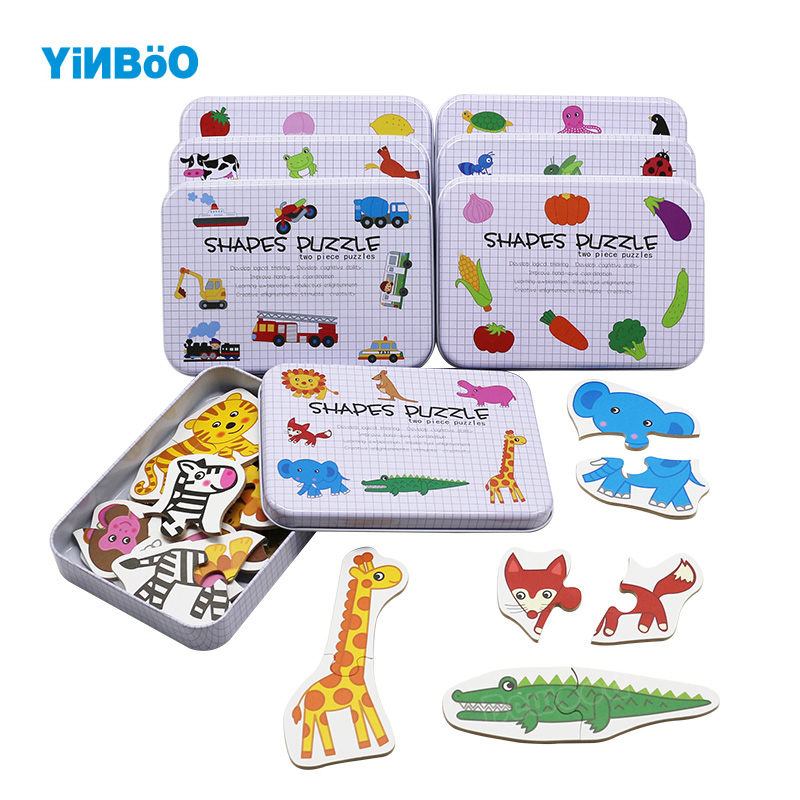 Kids Cognition Puzzle Toys Toddler Iron Box Cards Matching Game Cognitive Card Vehicl/Fruit/Animal/Life Set Pair Puzzle