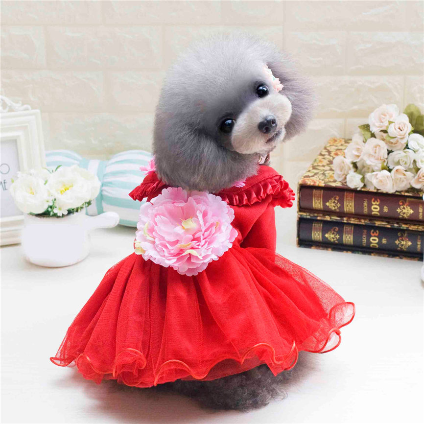 Dog Dress Peony Style Small Pet Cat Clothes Puppy Winter Apparels Costume S~XXL Dropshipping &109