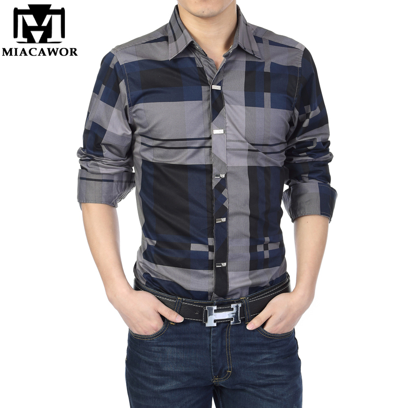 MIACAWOR Brand Shirt Men 100% Cotton Casual Shirts Slim Fit Men Plaid Shirt Long Sleeves Camisa Hombre Camisa Masculina C006