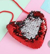 New Women Fashion Girl Shoulder Paillette Bags Ladies Crossbody Heart Mini