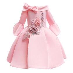 Baby Girls Appliques Bow Party Princess Dress Child Half Sleeve Dress Kids Formal Wedding Birthday Christmas Ball Gown Dress D93