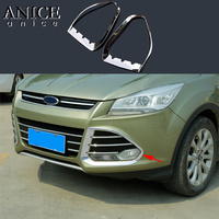 2pc ABS CHROME Front Head Fog Light Lamp Cover Moldin trim fit For FORD ESCAPE KUGA 2013 2014 2015 2016