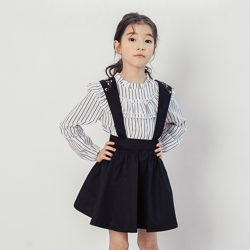 2018 New Autumn Long Sleeve Striped Shirt + Strap Embroidery Skirt 2 Pcs Suit Child Kids Clothes Set Girls Clothing Set CA063 spring autumn 3 12y girl suit set long sleeve top skirt girls clothing set cute owl costume for kids teenage clothes
