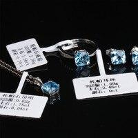 Silber topas ring ohrring anhänger halskette engagement schmuck MEDBOO 925 silber inlay blau natürliche edelstein feine schmuck set